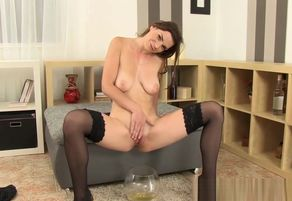Mind-blowing damsel plays with a..