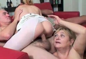 Aged And Young woman 4 way With..