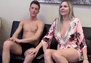 Stepmom stepson affair observing porno..