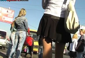 Hidden upskirt in public place