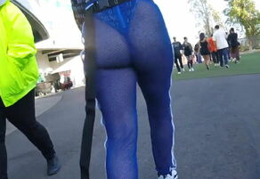 Giant dark-hued butt in see-through..