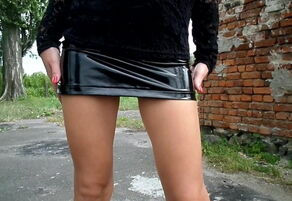 Mules and Lacquer Mini Miniskirt