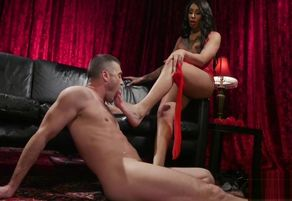 Stockinged alluring transsexual..