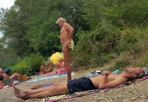 Naturist grandfather at the beach - 3