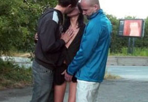 Courageous PUBLIC 3some romp with a..